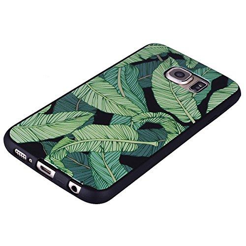 Funda Samsung Galaxy S6, EUWLY Negro Silicona Fundas para Samsung Galaxy S6 Goma Gel Suave TPU Cárcasa Caso con Pintura Dibujos Impresión En Relieve Patrón Bumper Case Cover Ultra Delgado Ligero Flexi Hojas de plátano