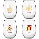 Enjoy a deep red or a crisp white with stemless wine glasses that feature our fun and colorful holiday messages!  There's nothing like the delicious taste of red wine with a great steak or a fresh white wine as you pour over a dessert; especi...