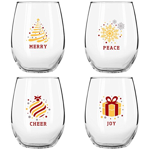 Christmas Stemless Wine Glasses (4-Piece Set)- Colorful, Cheerful Holiday Party Cups- Elegant, Trendy Fun - Red, Silver and Gold Décor feat- Merry, Peace, Cheer, and ()