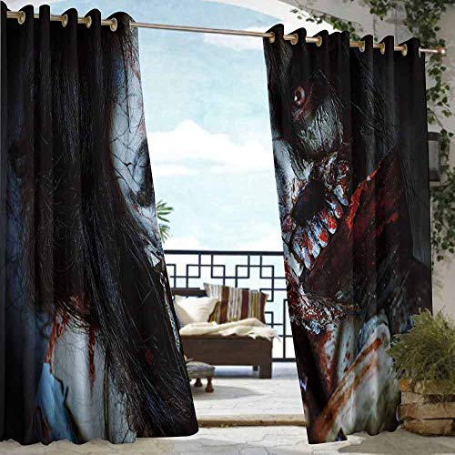 DILITECK Outdoor Waterproof Curtain Zombie Decor Scary Dead Woman with Bloody Axe Evil Fantasy Gothic Mystery Halloween Picture Simple Stylish W72 xL96 Multicolor