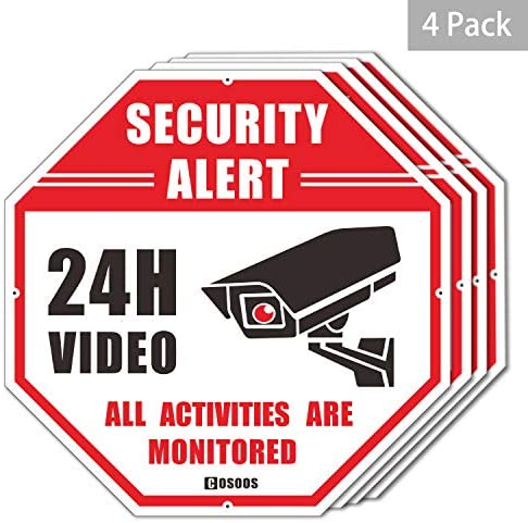 4-Pack Video Surveillance Sign CCTV Security Alert, COSOOS Octagon 12 x12 Rust Free Aluminum Reflective, Waterproof 24 Hour Security No Trespassing Warning Sign for Home Surveillance Camera System