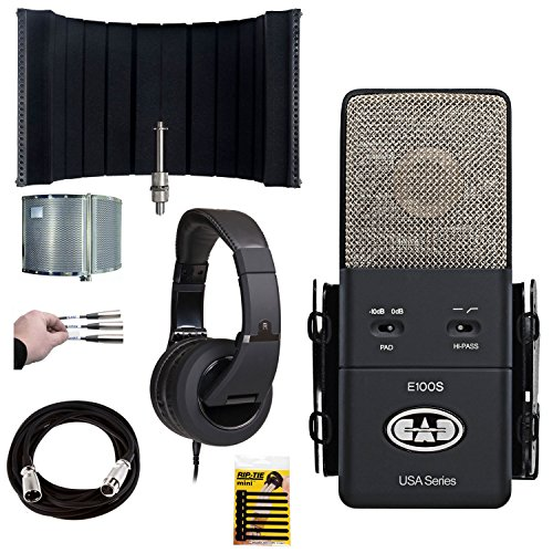 CAD Equitek E100S Supercardioid Condenser Mic with FREE CAD Acousti-Shield 22 Stand-Mounted Acoustic Enclosure + CAD MH510 Personal Headphones + Mic Cable, 20 ft. XLR + Accessories - TOP Value Bundle
