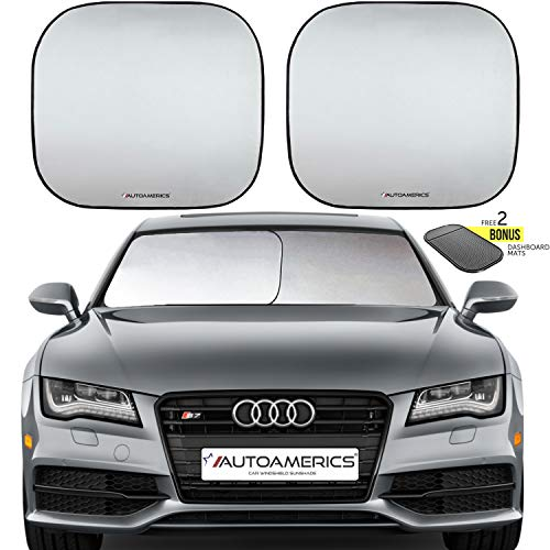 Autoamerics Windshield Sun Shade 2-Piece Foldable Car Front Window Sunshade for Most Sedans SUV Truck - Auto Sun Blocker Visor Protector Blocks Max UV Rays and Keeps Your Vehicle Cool - Slide Front Pocket
