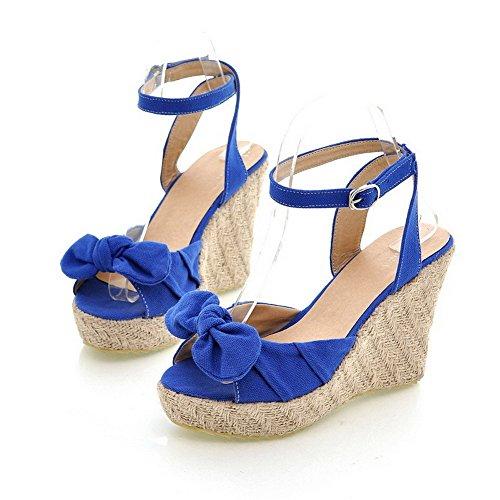 Odomolor Mujeres Tacón Alto Esmerilado Sólido Hebilla Sandalias de vestir Azul