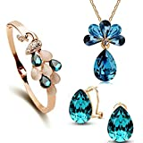 Youbella Presents Crystal Combo Of Necklace Pendant Jewellery Set With Earrings And Bracelet For Girls And Women
