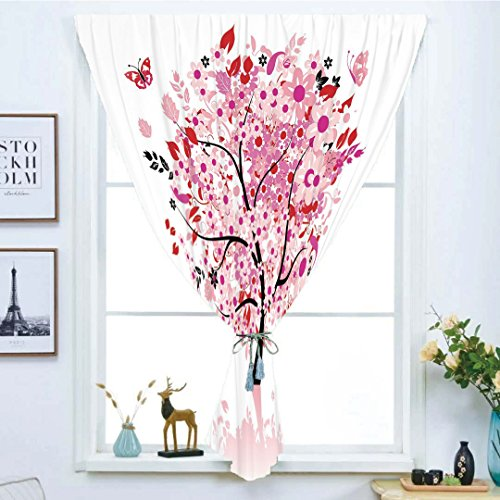 Soho Handmade Daisies (iPrint Blackout Window Curtain,Free Punching Magic Stickers Curtain,Tree,Abstract Tree with Floral Burst Blossoms Daisies Leaves Butterflies Forest,Brown Red Pink White,Paste Style,for Living Room)