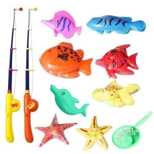 Rainobwkids Puzzle Magnetic Fishing Game Ocean 1 Rod 6 Fish Kid Children Bath Hook Toy Funny,For Outdoor Faimly Activity Party