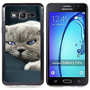 Cute Sleepy Cat House British Shorthair Caja protectora de pl??stico duro Dise?¡Àado King Case For Samsung Galaxy On5 SM-G550FY G550