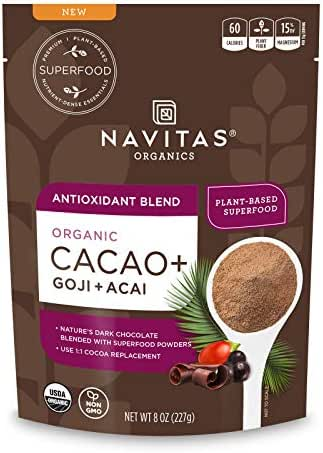 Navitas Organics Cacao+ Blend: Antioxidant (Cacao + Acai + Goji), 8oz. Bag — Organic, Non-Gmo, Gluten-Free, 8 Oz