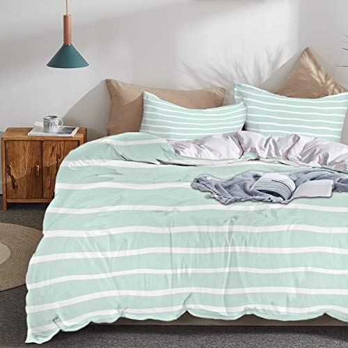 (Theme Design Duvet Cover Set,Mint Theme Design,Horizontal Wavy Lines White Striped Abstract Soft Toned Nautical Art Display,Queen/Full Size 3 Piece (1 Duvet Cover + 2 Pillowcase),Almond Green White ,S)