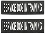 """SERVICE DOG IN TRAINING Patch with Hook and Loop Back and Reflective Lettering for Service Dog In Training Vests (Service Dog In Training, Large - 2"""" x 6"""")"""