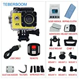 TEBERBOOM Sport Action Camera, Waterproof Sport Camera S2R WiFi 4k Ultra HD 170 Degree Wide View Angle,100ft Underwater and Mounting Accessories Kit with Wireless Control (Yellow)