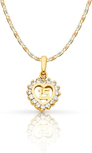 14K Yellow Gold Sweet 15 Years Quinceanera Heart Cubic Zirconia CZ Charm Pendant with 0.8mm Box Chain Necklace