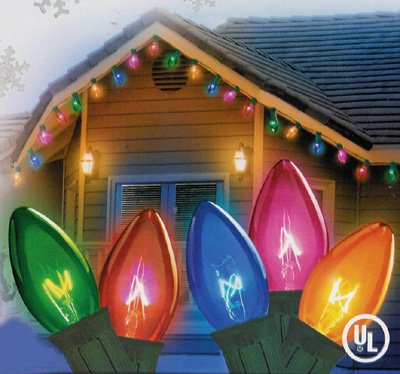 Northlight Set of 25 Transparent Multi-Color C9 Twinkle Christmas Lights - Green Wire ()