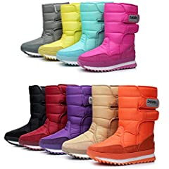 Material: Synthetic Inside: Warm Plush Closure Type: Velcro Sole: Rubber  Heel Type: Flat Color:As picture Season: Winter DADAWEN winter snow boots. More warm! more convenient! more fashionable! Waterproof vamp material, thick plush inside, e...