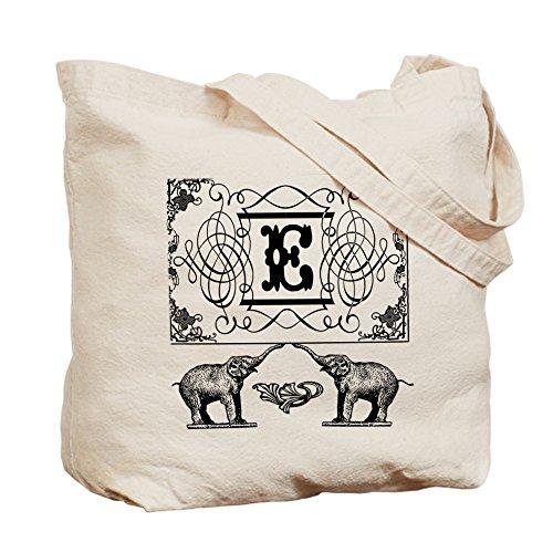 CafePress–Letra E–Circo elefantes Monogram Tote–Gamuza de bolsa de lona bolsa, bolsa de la compra
