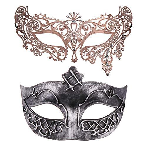 2 Pieces Masquerade Mask for Couples, Venetian Mardi Gras Costume Ball Mask (Antique Silver & Rose Gold 4) -