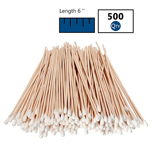 500 Pcs Long Wooden Cotton Swabs, Cleaning Sterile Single St