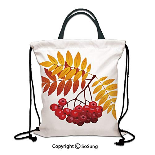 Rowan 3D Print Drawstring Bag String Backpack,Realistic Vivid Ripe Berries in Fall Season Orange Leaves Rural Plant,for Travel Gym School Beach Shopping,Dark Orange Yellow Red