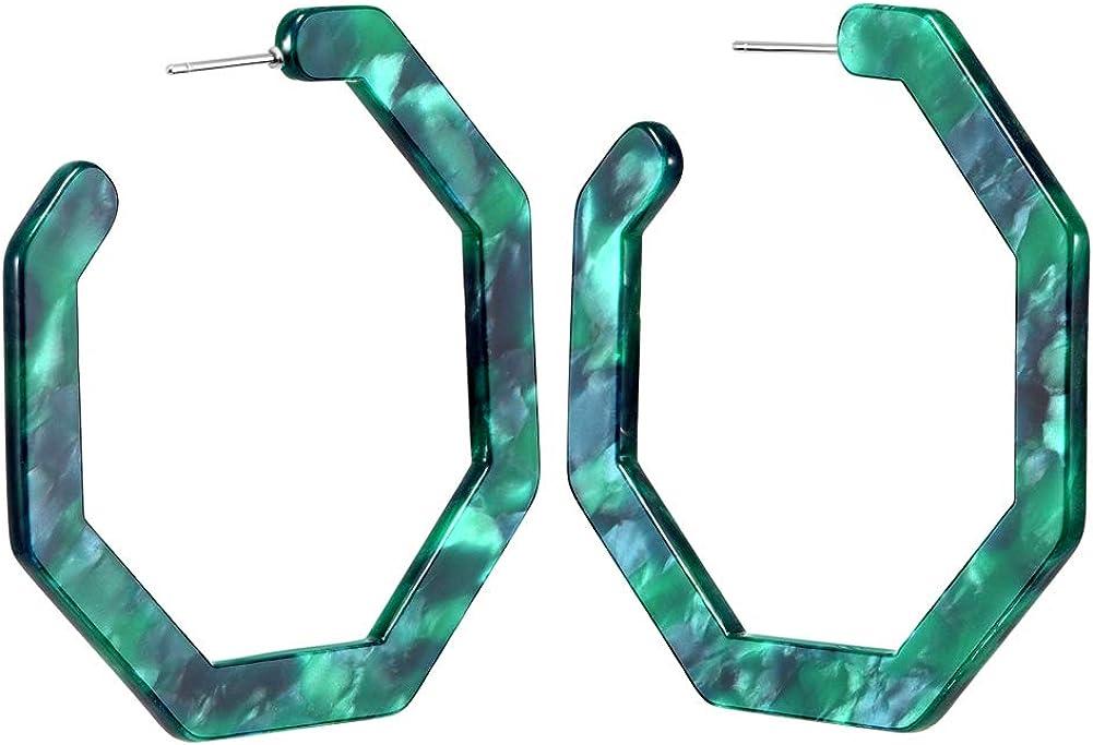 wowshow Acrylic Resin Hoop Earrings for Women Statement Fashion Geometric Octagon Earrings