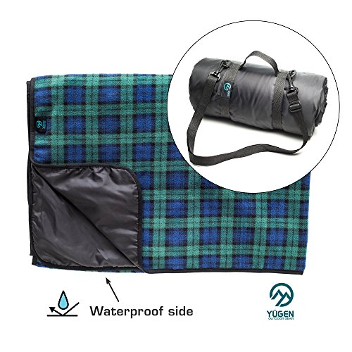 Luxury Picnic Blanket for Outdoor Family Adventures, Camping, Hiking, Beach Fun - Checkered Plaid Fleece & Waterproof Backing - Large Folding Blankets, Portable Handle & Shoulder Strap (green) (Strap Blanket Leg)