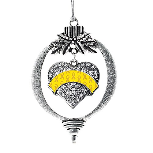 Inspired Silver Yellow Ribbon Support Pave Heart Holiday Decoration Christmas Tree Ornament