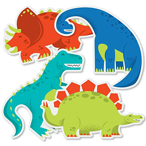 Roar Dinosaur - T-Rex, Triceratops, Stegosaurus and Brontosaurus Decorations DIY Dino Mite Baby Shower or Birthday Party Essentials - Set of 20]()