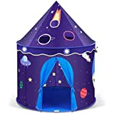INTEY Spielzelt Kinderzelt Pop UP Zelt Kinderschloss Burg mit Weltraummuster und 1 Tür und 2 Fenstern für Kinder, inkl. Tragetasche, Dunkelblau