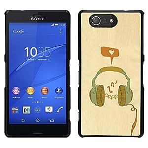LECELL--Funda protectora / Cubierta / Piel For Sony Xperia Z3 Compact -- Auriculares de la música del amor de la naranja del trullo --