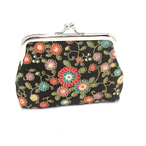 Lock Coin Purse - Quietcloud Sunflower Print Women Cash Coin Purse Kiss Lock Fashion Mini Wallet Card Bag (Black)