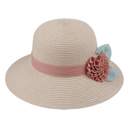 COMVIP Women Boho Chiffon Flower Straw Hat Wide Brim Beach Sun Cap Beige