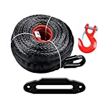 1/2'' Synthetic Winch Rope Cable 92' Long + Universal 10'' Aluminum Hawse Fairlead for ATV UTV SUV Truck Boat Ramsey (Black)