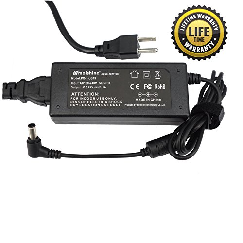 "Molshine 19V AC Adapter Compatible for LG Electronics LED LCD HDTV Monitor Widescreen (19"" 20"" 22"" 23"" 24"" 27"") Power Supply Cord Wall - Widescreen 1 Lcd Hdtv"