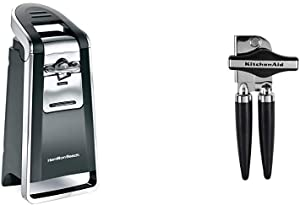 Hamilton Beach Smooth Touch Electric Automatic Can Opener with Easy Push Down Lever, Use with All Standard-Size and Pop-Top Lids & KitchenAid KC130OHOBA Can Opener, Black, One Size