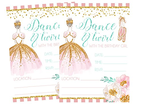 Ballet Birthday Invitations - Ballet Themed Dance and Twirl with Me Party Invitations Supply Decoration Decor (Invite)
