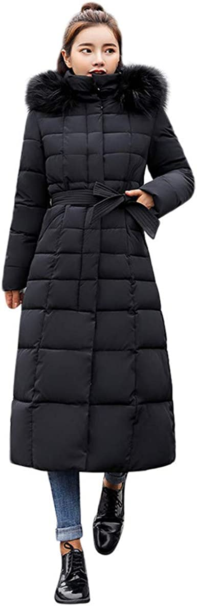MIRRAY Womens Girls Coats Winter Warm Thick Solid Long Sleeve Outerwear Casual Hooded Overcoat Plus Size Loose Outwear Long Cotton-Padded Belted Long Jackets with Pockets