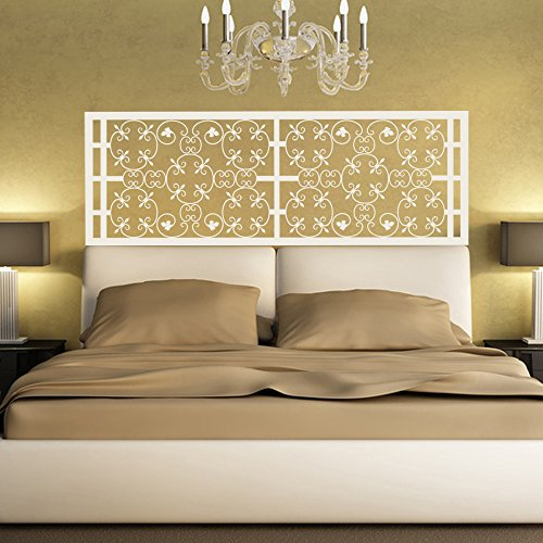 BATTOO Bed Decoration Baroque Beautiful Flower style Headboard Wall Decal Vinyl Wall Art Sticker Bedpost(Queen, White) (Headboard Baroque White)