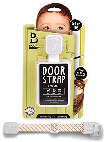 Door Buddy Baby Proof Door Lock with Adjustable Strap. No Need for Baby Gate. Child Proof Room with Litter Box while Cats Enter Easily. Installs in Seconds and is Simple & Convenient to Use. (Caramel)
