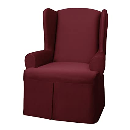 Maytex Twill Wing Chair Cover, Red