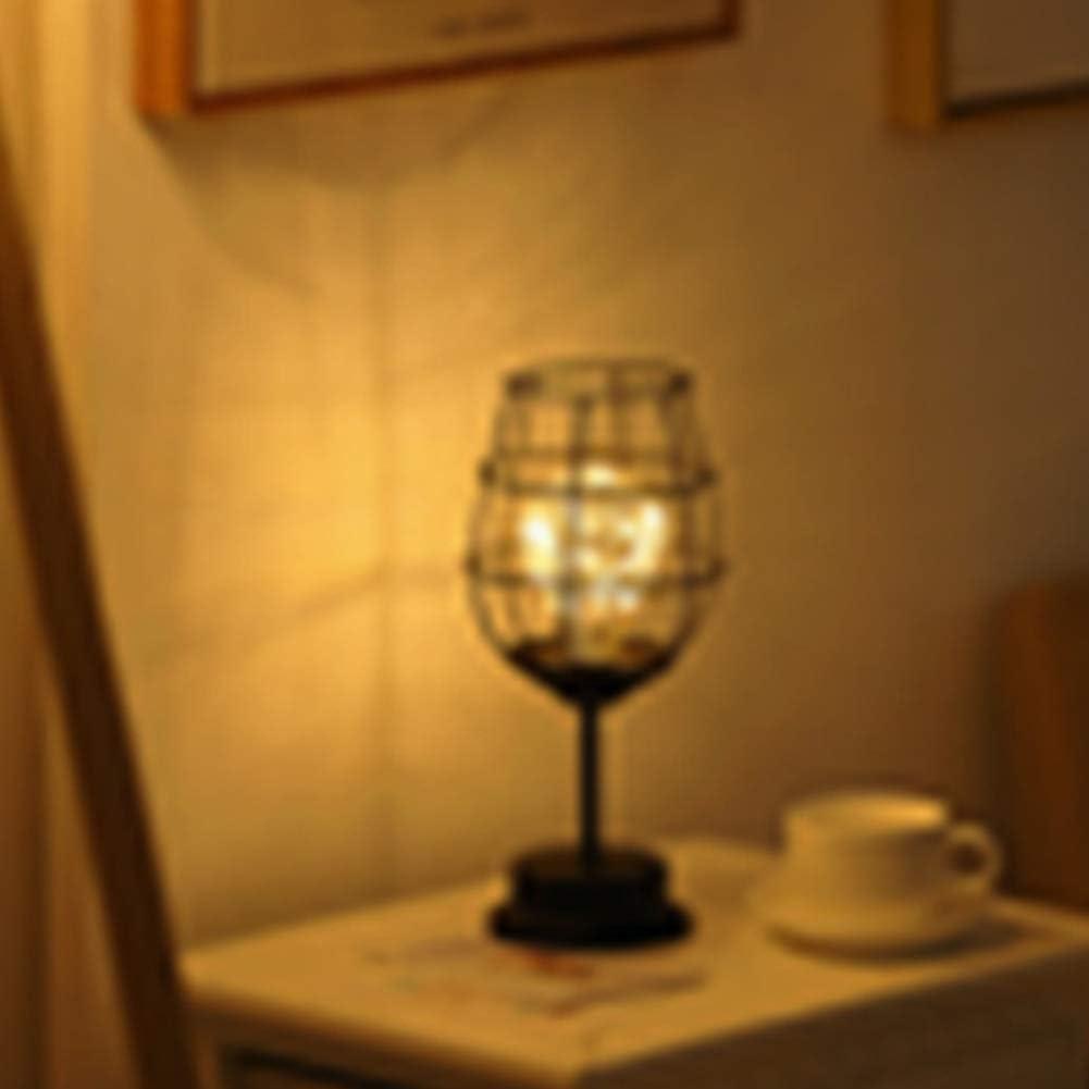 FADDR Schwarz Metalldraht Tischlampe Retro Nachttischlampe Standlicht Batterie betrieben f/ür Schlafzimmer Moderne Eisen Korb K/äfig Stil Nachtlicht