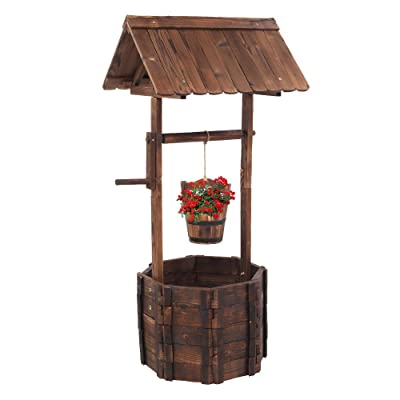VINGLI Wooden Wishing Well Hanging Bucket, Rustic Flower Planter Patio Garden Ornamental, Outdoor Home Décor, Decorative Front Yard, Lawn : Garden & Outdoor