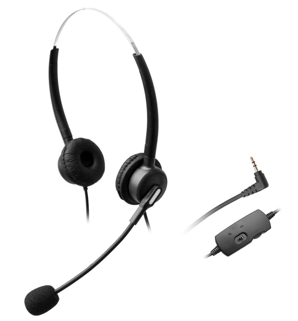 Wantek Dual Ear Call Center Telephone Headset with Mic + Volume Mute Controls for Grandstream AT&T TL88002 TL86103 TL86003 TL76108 TL7610 TL88102 TL86109 TL86009 with 2.5mm Headphone Jack(H120B04J25)