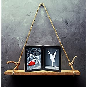 (2-Pack) 5×7 Inch Hinged Dual Picture Wood Photo Frames with Glass Front – Made to Display Two 5″x7″ Inch Collage Pictures, Double Frame Stands Vertically on Desktop or Table Top