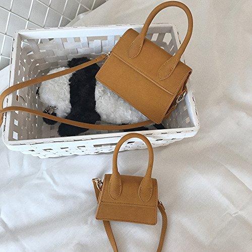ZHANGJIA Pure Color Gamuza Bolso Mini Bag,Mini Bolso pequeño yellow