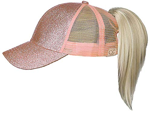 Funky Junque H-209KIDS-65 Kids Messy Bun Ponytail Hat - Glitter - Rose Gold