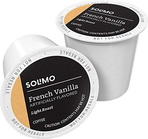 Amazon Brand – 100 Ct. Solimo Light Roast Coffee Pods, French Vanilla Flavored, Compatible with Keurig 2.0 K-Cup Brewers