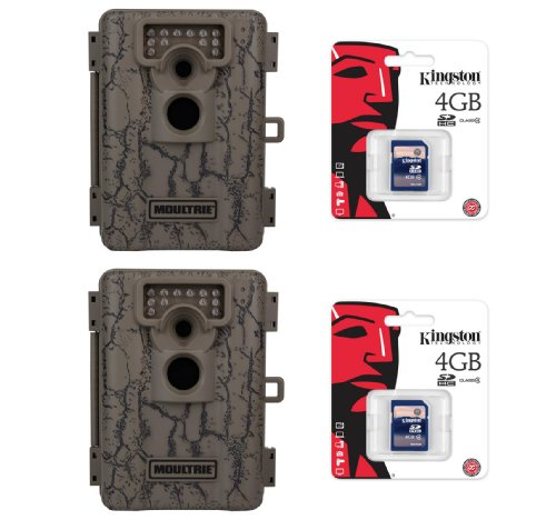 (2) MOULTRIE Game Spy A-5 Low Glow Infrared 5 MP Digital Game Cameras  SD Cards