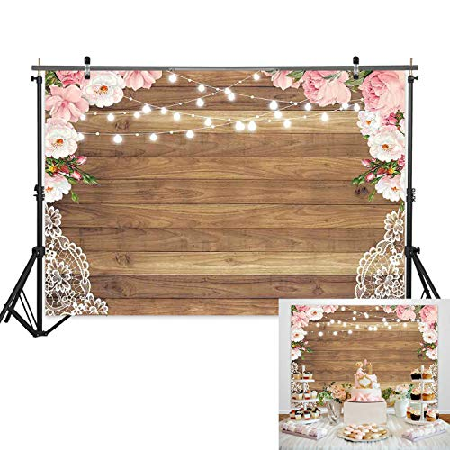 7x5ft Wood Texture Floral Curtain Lace Flower Border Light Background for Bridal Baby Shower Birthday Bachelorette Party Photography Backdrop Studio Prop Rustic Wedding Decorations -