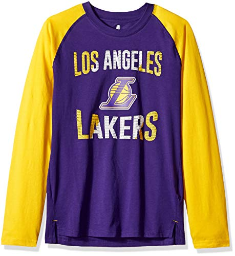 A Youth Boys Los Angeles Lakers Free Throw Long Sleeve Fashion Tee, Regal Purple, Youth X-Large(18) ()