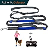 """Durable Hands Free Dog Leash for Running, Walking, Hiking, with Adjustable Waist Belt (Fits up to 47"""" Waist) and Shock Absorbing Bungee (CLA-Gray/Blue)"""